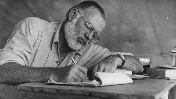 Ernest Hemingway writing longhand